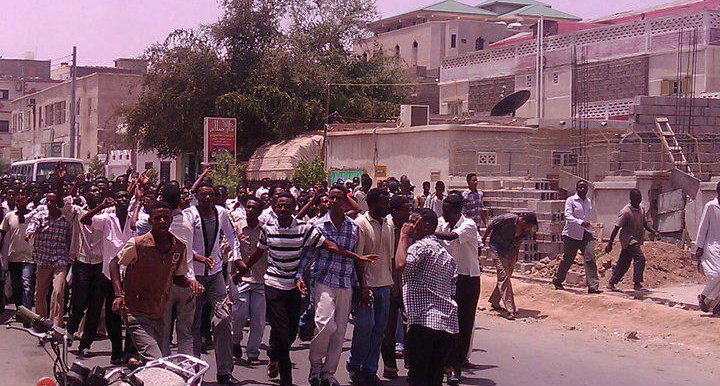 A protest against the dismissal of the Kassala governor in Port Sudan on Saturday (Social media)