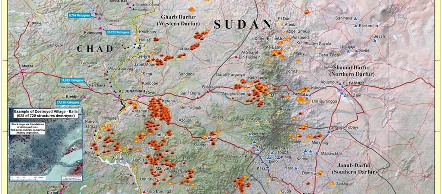 A map from August 2004 showing damaged and destroyed villages in Darfur (US State Department)