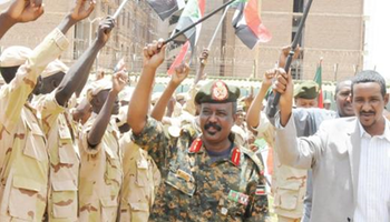 RSF commander Lt. Gen. Mohamed Hamdan (aka Hemeti) reviews his troops (File photo)