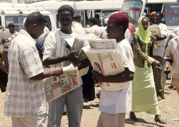File photo: Newspaper vendors in Khartoum