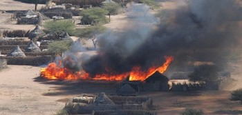 A house burning in a Darfur village (file photo)