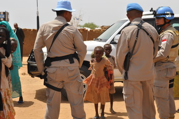UN peacekeepers at the Abu Shouk camp for the displaced in North Darfur (Unamid)
