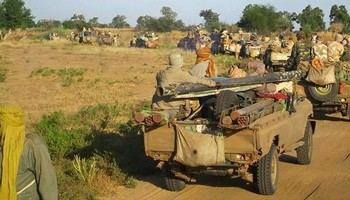 A convoy of SLM-AW rebel troops in Darfur (File photo)