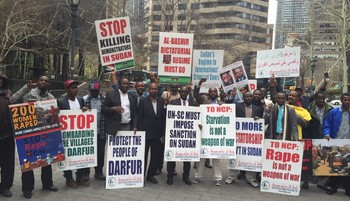 Sudanese in New York demonstrate against the re-election of Omar Al Bashir, 27 April 2015 (RD)