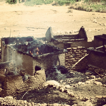 File photo: Houses destroyed by aerial bombardments (RD)