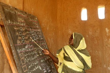 File photo: A basic school teacher in Darfur