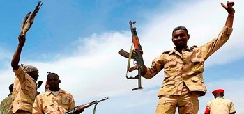 Paramilitaries of the Rapid Support Forces are cheering in South Darfur, 2015 (file photo)