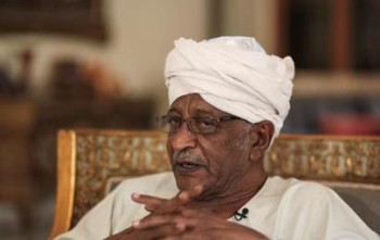 Dr Amin Mekki Madani, prominent human rights lawyer, during an interview with AP in Khartoum (Mosa'ab Elshamy/AP)