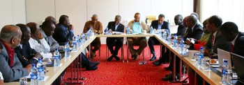 The AU mediation team consults Sudan opposition leaders in Addis Ababa on 22 August 2015 (AUHIP)
