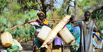 Carrying water in Blue Nile state (File photo)
