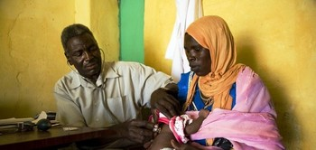 A health centre at a Darfur camp for the displaced (file photo)