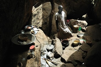 Nuba Mountains villagers shelter in caves in South Kordofan, where only a direct hit from a bomb might harm them (Aljazeera)
