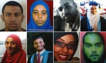 Images of eight Sudanese medical students who left Khartoum to join IS in March this year (The Guardian)