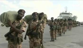 Sudanese army troops arriving in Aden, Yemen (Al Arabiya TV)