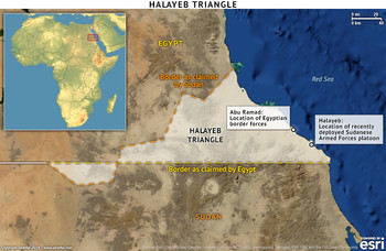 The Halayeb triangle, straddles the Egypt-Sudan border (stratfor.com)