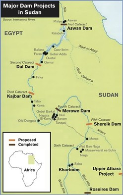 The large-scale dam projects in Sudan (image by International Rivers)