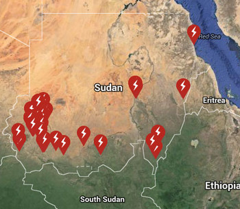 Map showing human rights violation in Sudan in October 2015 (SUDO (UK))