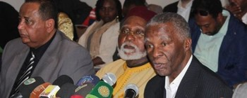 AUHIP Chairman Thabo Mbeki (R) during earlier Sudanese peace talks (Radio Tamazuj)