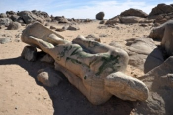Statue of a Nubian pharaoh near the proposed Kajbar Dam (Brian McMorrow/Pbase)