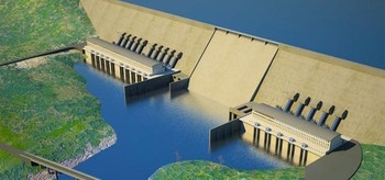 Scale-model of the Ethiopian Renaissance Dam at the source of the Blue Nile