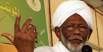 Dr Hassan El Turabi, the chairman of the Popular Congress Party in Sudan (file photo)