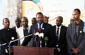 NJEM leader Mansour Arbab Younis speaks at a press conference in Khartoum on 5 January