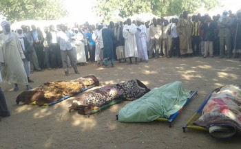 The corpses of five villagers and a protester before being buried in El Geneina, capital of West Darfur, 11 January 2016 (photo made by a protester)