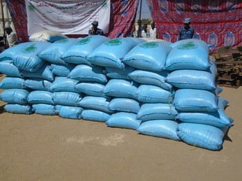 Food distributed by the Zakat Chamber in Zalingei, Central Darfur (File photo: RD correspondent)