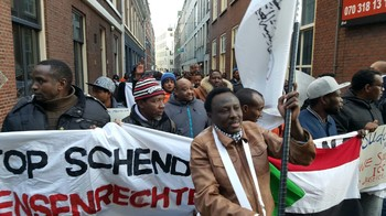 Sudanese in the Netherlands protest against the violence in Darfur, The Hague in January 2016 (RD)
