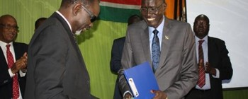 The Sudanese and South Sudanese Oil Ministers in Juba, 3 February 2016 (Radio Tamazuj)
