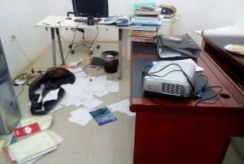 The office of the Sudan Human Rights Monitor in Khartoum after a raid by security agents on 21 December 2014 (RD file photo)
