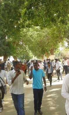 A student protest at the University of Khartoum this year (RD)