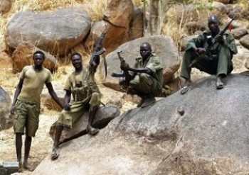 SPLM-N fighters near Jebel Kwo village in the Nuba Mountains, South Kordofan, on 2 May 2012 (Goran Tomasevic/Reuters)