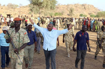 SPLM-N deputy head Yasir Arman (C) visiting rebel combatants in the Nuba Mountains, South Kordofan, December 5, 2016 (SPLM-N)