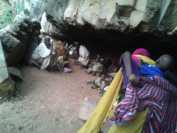 Villagers shelter in Caves in western Jebel Marra from shelling by government forces (File photo)