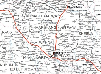Mershing locality in South Darfur (OCHA map of Darfur)