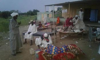 A medical ward in Blue Nile, Sudan, where patients with watery diarrhoea receive treatment (RD)