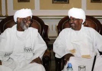 President Al Bashir meets with the PCP chairman for the first time since the ousting of El Turabi in 1999, March 2014 (AFP)