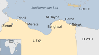 Tobruk, a port city in Libya near the Egyptian border.