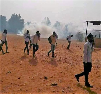 Tear gas is used to disperse a protest by Darfuri students in Omdurman (File photo)