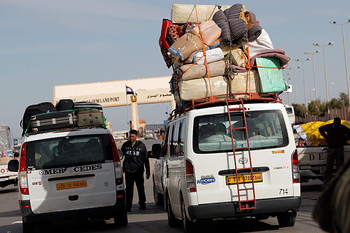 The Libyan terminal of the Egyptian-Libyan border crossing of Musaed (Nasser Nasser/AP)