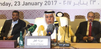 Ahmed bin Abdullah Aal Mahmoud, Deputy Prime Minister of Qatar, during THE signing ceremony of DDPD with THE SLM-SR. January23, 2017 (Haberler.com)