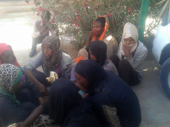 Human trafficking victims in Kassala, released by their captors on 22 February 2017 (file photo)