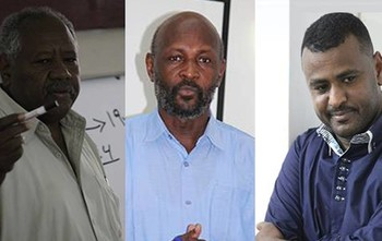 Tracks director Khalafallah El Afif Mukhtar, trainer Midhat Afifeldin Hamdan and affiliate Mustafa Adam (file photo)