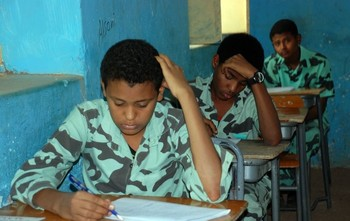 Sitting for secondary school exams in Sudan (file photo)