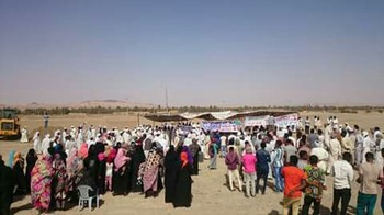Protests in northern Sudan's Sawarda against the gold cyanidation site in the area, 8 April 2017 (RD)