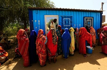 Eritrean asylum seekers meet at the Wad Sharify refugee camp in eastern Sudan, near the border with Eritrea (Mohamed Nureldin)