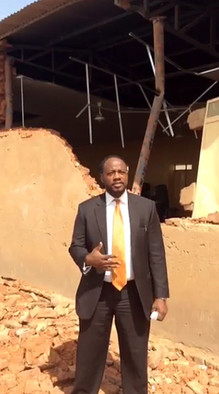 US Chargé d'Affaires ad interim Ervin Massinga speaks at the site of the demolished church (Picture: US Embassy Khartoum)