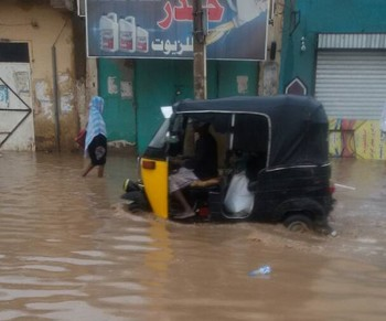 A rickshaw makes its way through floods in Atbara in Sudan's River Nile state in May (File photo: RD correspondent)