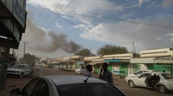 A pall of smoke hangs over Nyala as ammo blast causes terror in South Darfur capital (RD correspondent)